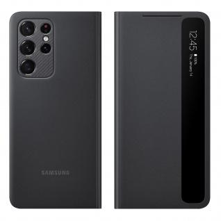 Original Samsung Clear View Cover, Klapphülle für Galaxy S21 Ultra - Schwarz