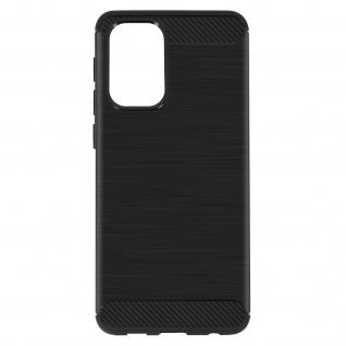 Samsung Galaxy A72 Schutzhülle mit Aluminium und Carbon Design ? Schwarz