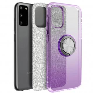 Glitter Silikonhülle mit Ring Halterung für Samsung Galaxy S20 - Violett