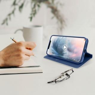 Apple iPhone 12 / 12 Pro Klappetui, Cover mit Carbon Design ? Dunkelblau - Vorschau 3