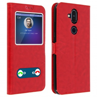 Nokia 8.1 Flip Cover Doppelfenster & Standfunktion - Rot
