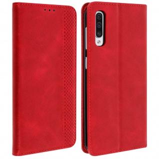 Vintage Retrohülle & Standfunktion für Samsung Galaxy A50 - Rot