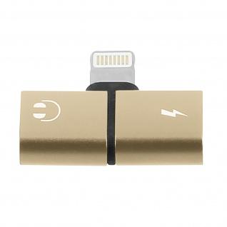 2-in-1 Lightning Audio- und Ladeadapter für iPhone, iPod, iPad - Gold