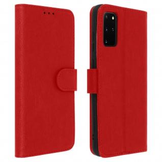 Flip Cover Geldbörse, Klappetui Kunstleder für Samsung Galaxy S20 Plus - Rot