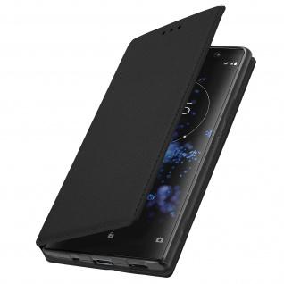 Flip Kunstleder Cover Geldbörse Classic Edition Sony Xperia XA2 Plus - Schwarz