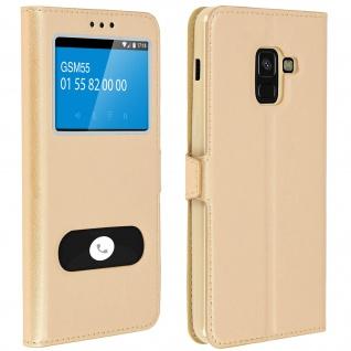 Flip Cover mit Doppelfenster & Standfunktion Samsung Galaxy A8 2018 - Gold