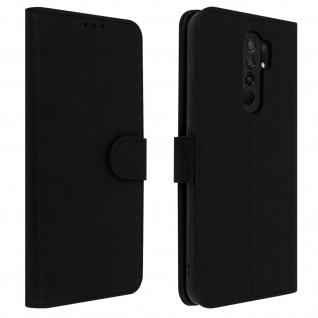 Flip Cover Geldbörse, Klappetui Kunstleder für Xiaomi Redmi 9 ? Schwarz