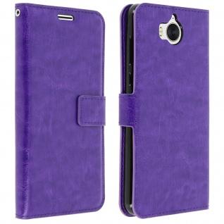 Flip-Cover Stand Case Brieftasche & Standfunktion für Huawei Y6 2017 - Violett - Vorschau 2