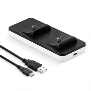 PS5 Dualsense Controller-Ladestation + USB-C Kabel - Schwarz / Weiß