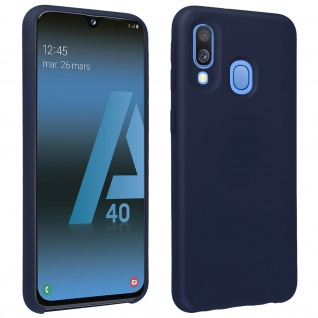 Halbsteife Silikon Handyhülle Samsung Galaxy A40, Soft Touch - Dunkelblau