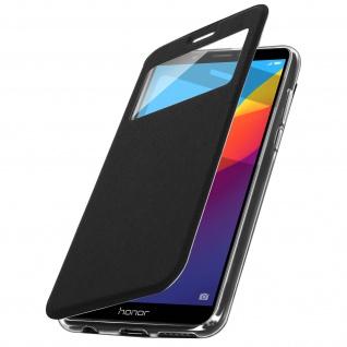 Honor 7C / Huawei Y7 2018 Flip Cover Sichtfenster & Kartenfach - Schwarz - Vorschau 2