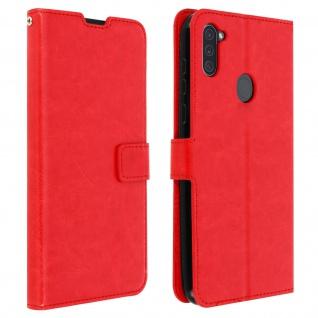 Flip Stand Case Brieftasche & Standfunktion für Galaxy A11 - Rot