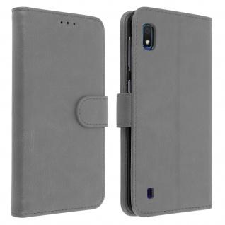 Flip Cover Geldbörse, Klappetui Kunstleder für Samsung Galaxy A10 - Grau