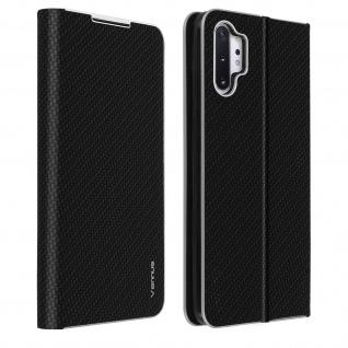 Klappetui Galaxy Note 10 Plus, Cover mit Carbon Design & Ständer - Schwarz