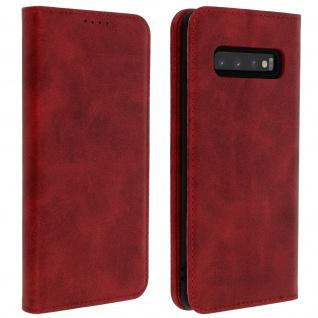 Flip Cover Geldbörse, Kunstleder Klappetui für Samsung Galaxy S10 Plus - Rot