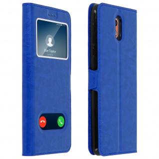 Nokia 3.1 Flip Cover mit Doppelfenster & Standfunktion - Blau