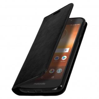 Motorola Moto G6 Play / Moto E5 Leder Cover, Klappetui Geldbörse - Schwarz