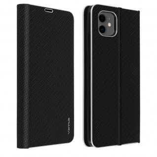 Apple iPhone 11 Klappetui, Cover mit Carbon Design & Ständer - Schwarz