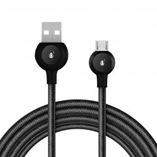 Micro-USB / USB Nylon Kabel, Lade- & Synchronisationskabel, 2A - Schwarz - Vorschau 2