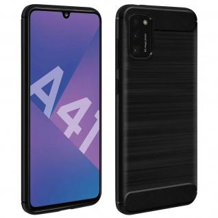Samsung Galaxy A41 Schutzhülle mit Aluminium und Carbon Design ? Schwarz