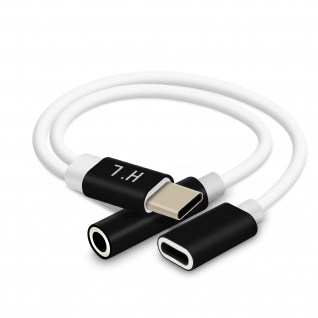 USB-C Audio-& Ladeadapter auf USB-C und 3, 5mm Klinke Kompakt 12cm - Schwarz