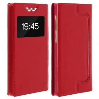 Universal Klappetui, Hülle mit Sichtfenster für Smartphones Größe L - Rot