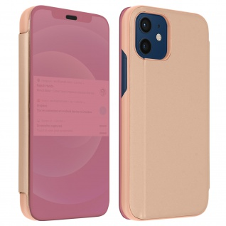 Apple iPhone 12 Mini View Cover mit Spiegeleffekt & Standfunktion - Rosa
