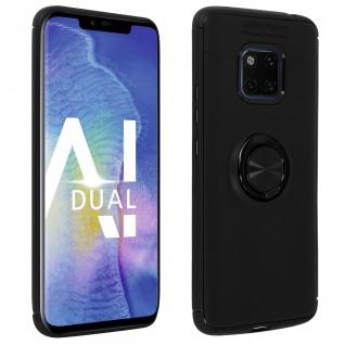 Silikon Schutzhülle mit Ring Halterung für Huawei Mate 20 Pro ? Schwarz
