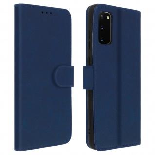 Flip Cover Geldbörse, Klappetui Kunstleder für Samsung Galaxy S20 - Blau