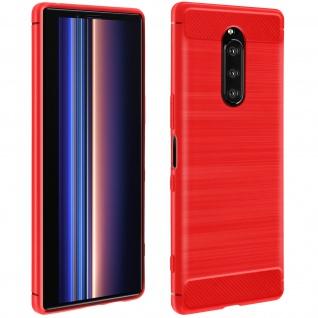 Sony Xperia 1 Silikon Schutzhülle mit Carbon/Aluminium Look ? Rot