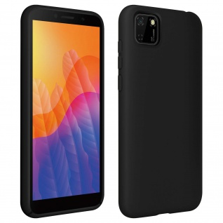 Halbsteife Silikon Handyhülle Huawei Y5p, Soft Touch - Schwarz