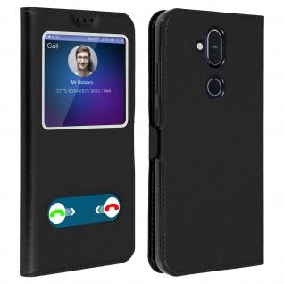 Nokia 8.1 Flip Cover Doppelfenster & Standfunktion - Schwarz