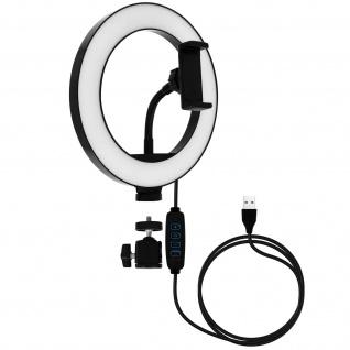 LED-Ringlicht 26cm mit Handyhalter, by LinQ ? Weiß