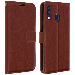 Flip Stand Cover Brieftasche & Standfunktion für Samsung Galaxy A40 - Braun