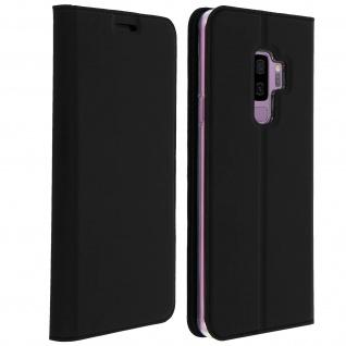 Smart Premium Flip Cover, Klappetui Kunstleder für Galaxy S9 Plus - Schwarz