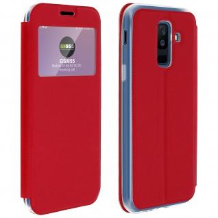Flip Cover Sichtfenster & Kartenfach Rot für Galaxy A6 Plus - Standfunktion