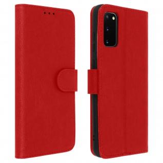 Flip Cover Geldbörse, Klappetui Kunstleder für Samsung Galaxy S20 - Rot