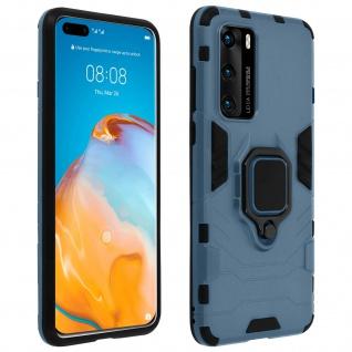 Stoßfeste Handyhülle Huawei P40 mit Ring-Halterung - Blau