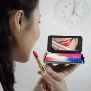 Spiegel Hülle, dünne Klapphülle für Apple iPhone X , Apple iPhone XS - Schwarz - Vorschau 3