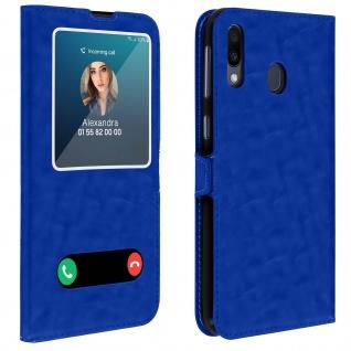 Samsung Galaxy M20 Flip Cover Doppelfenster & Standfunktion - Blau