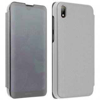 Huawei Y5 2019 Flip Cover mit Spiegeleffekt & Standfunktion � Silber