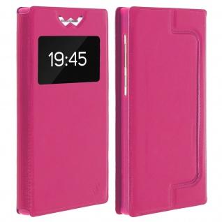Universal Klappetui, Hülle mit Sichtfenster für Smartphones Größe M - Rosa