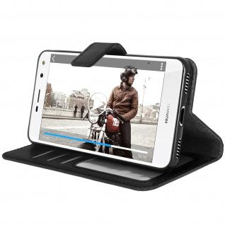 Flip-Cover Stand Case Brieftasche & Standfunktion für Huawei Y6 2017 - Schwarz - Vorschau 4