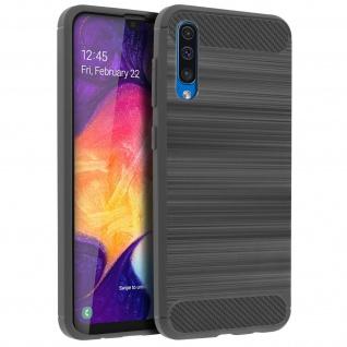 Samsung Galaxy A50 Silikon Schutzhülle mit Carbon/Aluminium Look - Grau