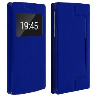 Universal Klappetui, Hülle mit Sichtfenster für Smartphones Größe XXL - Blau