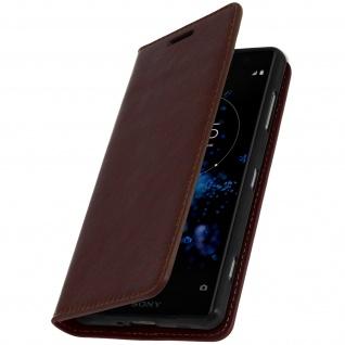 Sony Xperia XZ2 Compact Flip-Cover aus Echtleder im Brieftaschenstil - Braun