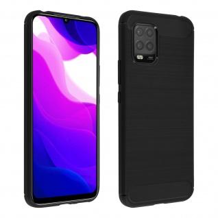 Xiaomi Mi 10 Lite Schutzhülle mit Aluminium und Carbon Design ? Schwarz