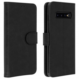 Flip Cover Geldbörse, Klappetui Kunstleder für Samsung Galaxy S10 Plus - Schwarz