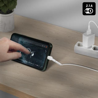 USB / Lightning Kabel mit abgewinkeltem Stecker 1m Inkax CK71 ? Weiß - Vorschau 5