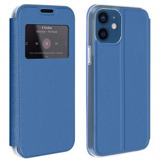 Apple iPhone 12 / 12 Pro Kunstlederetui mit Sichtfenster & Kartenfach ? Blau